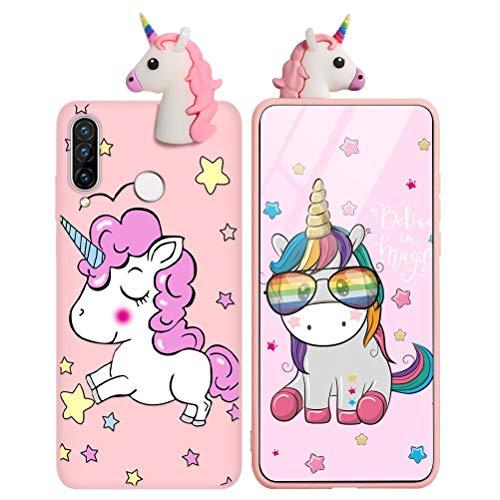 Yoedge Cover Huawei Y6 2019 con 3D Cartoon Doll, Rosa Custodia Silicone con Print Unicorno Pattern Drop Protection Antiurto Back Bumper Phone Case per Huawei Y6 2019, Unicorno 03