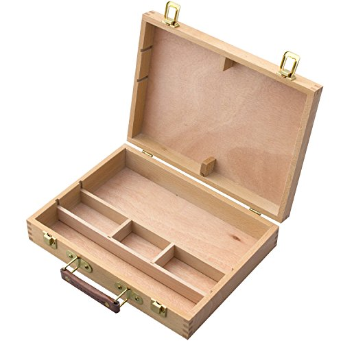 MyGift Top Handle Portable Wooden Arts/Crafts Supplies Storage Organizer/Artist Carrying Case Box