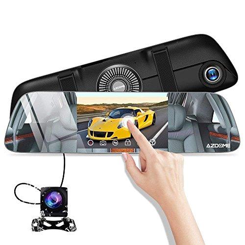 """AZDOME 5,5"""" Dashcam Rétroviseur&Caméra de Recul, Vision Nocturne, G-Capteur, Enregistrement en Boucle, Surveillance Stationnement, Aide au Stationnement, Supporte GPS Antenne[1080P 170°+720P 120°]"""