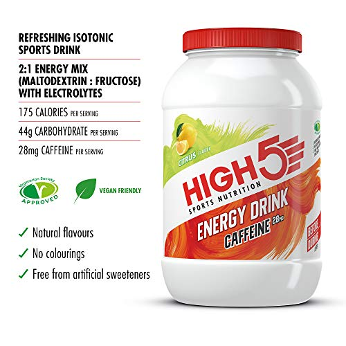 HIGH5 Energy Hydration Drink with Caffeine Refreshing Mix of Carbohydrates and Electrolytes Vegan Friendly (Citrus) (2…