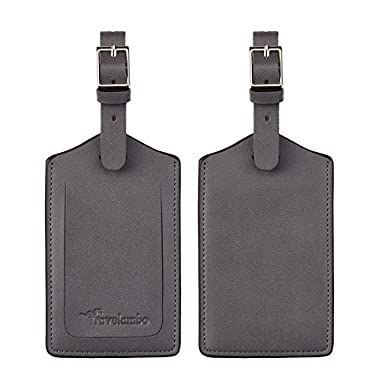 Travelambo Genuine Leather Luggage Bag Tags (Grey 4129 Deep Grey)