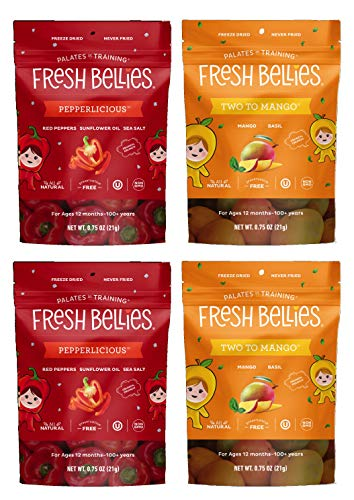 Fresh Bellies Toddler Snacks Variety 4 pack, Two to Mango & Pepperlicious (2 of each)