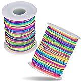 BangShou 2 Rollos Cuerda para Pulseras Colores Arcoiris Cuerda Elástica 100m Cordón de N...