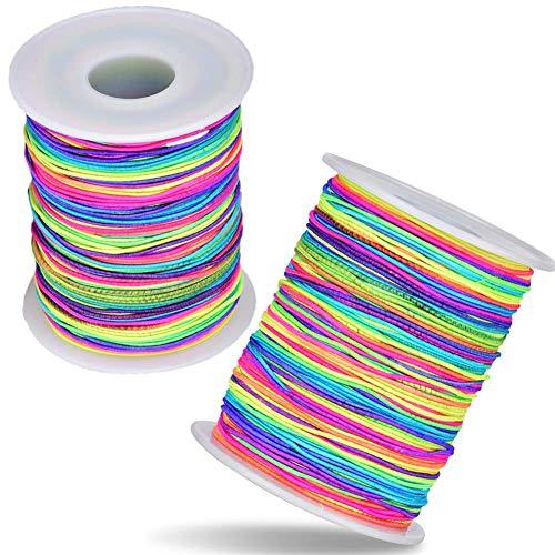 BangShou 2 Rollos Cuerda para Pulseras Colores Arcoiris Cuerda Elástica 100m Cordón de Nailon de 1mm de Diámetro Cordón de Hilo de Abalorios de Colores