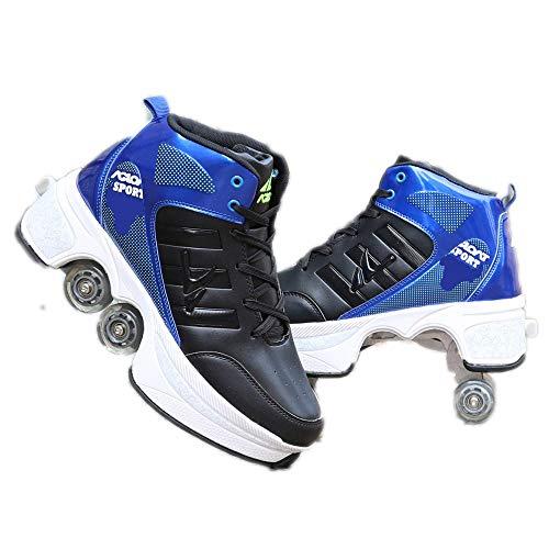 Inline Skate, Verstellbare Quad Roller Skates Stiefel, Geeignet Für Erwachsene Und Kinder,Blue-39