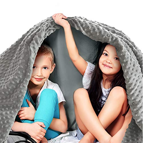 Quility Premium Kids Weighted Blanket & Removable Cover | 5 lbs | 36'x48' | for a Child Between 40-70 lbs | Single Size Bed | Premium Glass Beads | Cotton/Minky | Grey/Grey