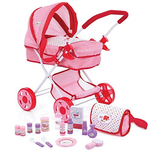 Hauck- Little Mommy Set de Juego de 17 Piezas con carrrito de muñecas, Bolsa de pañales y Varios Accesorios como biberón, Cubiertos, recipientes - Rosa/Rojo, Color (1)