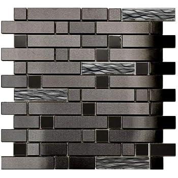 Black Stainless With Black Wave Glass Mosaic Tile Kitchen Backsplash Bath Backsplash Wall Decor Fireplace Surround Amazon Com