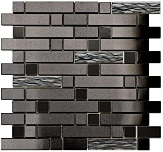 Black Stainless With Black Wave Glass Mosaic Tile - Kitchen Backsplash/Bath Backsplash/Wall Decor/Fireplace Surround