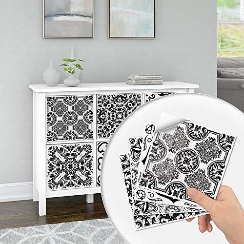 QAZN 20 Stück Fliesen Renovierungsaufkleber für Schrank TV Hintergrund Wandboden Öldicht Wasserdicht Selbstklebende Tapete Peel and Stick Decals-Schwarz weiß 2_15 x 15 cm
