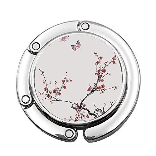 Stilisierte blühende japanische Kirschbaum Faltbare Lady Handtasche Tisch Schreibtisch Kleiderbügel Haken Geldbörse Tisch Kleiderbügel Halter
