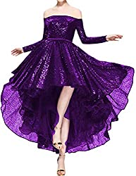 Purple1 Sequins Off The Shoulder Long Sleeve High Low Hem Gown