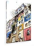 weewado La Vista de la casa de Hundertwasser en Viena, Austria - 80x120 cm - Impresion en Lienzo - Muro de Arte - Canvas, Cuadro, Poster - City Trip & Travel