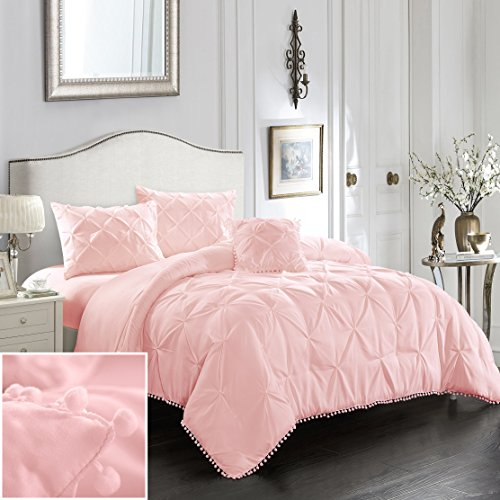 EVOLIVE 3pc Set Pinch Pleat/Kiss Pleat, Pintuck Down Alternative Comforter Set with Pompom (Twin, Pink)