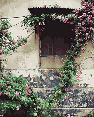 tytling Diy Digitale Verf Canvas Kits,Diy Schilderen Door Getallen Vensterbank Omringd Door Roze Bloemen Handgeschilderd Schilderen Op Canvas Home Decor Voor Woonkamer Gift Muur Kunst Beeld Frameless 40X50Cm