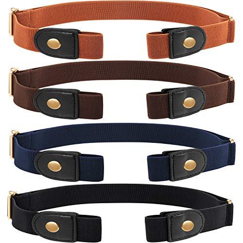 4 Stücke Keine Schnalle Stretch Gürtelschnalle Freier Gürtel Unsichtbarer Elastischer Gürtel Unisex für Jeans Hosen (Gold)
