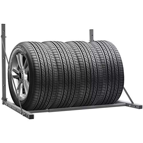 SHUJUNKAIN Estante para neumáticos Plegable de Acero galvanizado Plateado Vehículos y recambios Piezas y Accesorios para vehículos Almacenamiento y Carga de vehículos Plateado