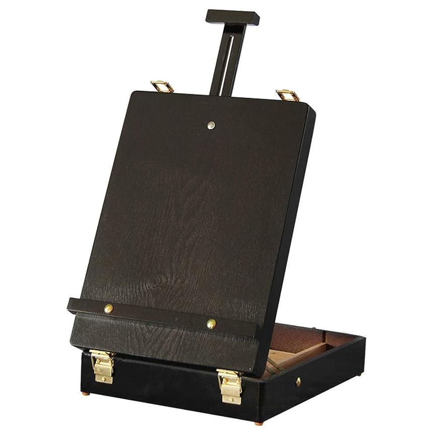 振り子不十分用心イーゼル 木製油絵セットボックス木製収納ボックスラウンドコーナーボックス絵画ペイント 画材 (Color : Black, Size : 27x10x36cm)