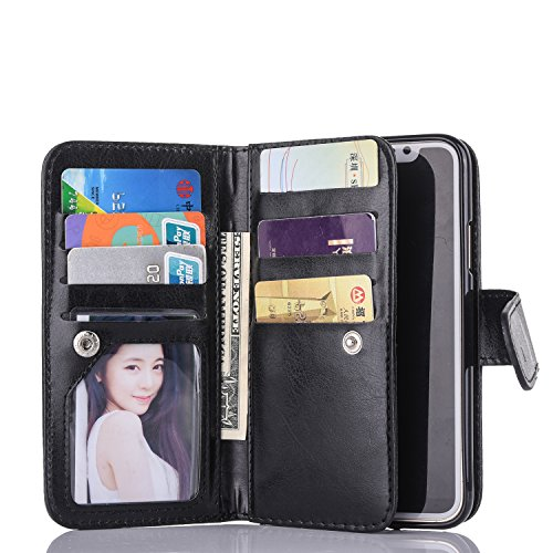 Black Sales Friday Deals Cyber Sales MondayFor iPhone Xs Wallet Case,Valentoria Leather Wallet Case Magnetic Detachable Slim Back Cover Card Holder Slot Wrist Strap Case for iPhone Xs/iPhone X (Black)