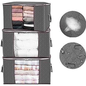 布団 収納袋 収納ケース 不織布 活性炭消臭 持ち手付 防水 防塵 除湿 ふとん収納袋 衣類収納袋(3点セット)