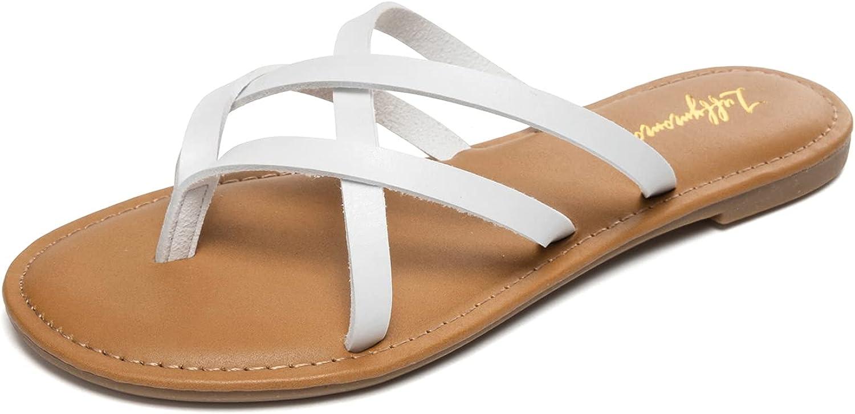 LUFFYMOMO Women's Elastic Strap Flat Sandals Casual Summer Open Toe Sandal