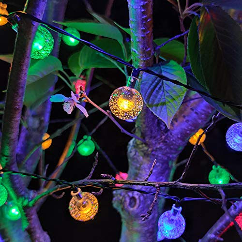 Luces LED de lotería solar impermeable para exteriores, luces de Navidad estrelladas Behire colgante mesa jardín decoración lámpara de 2,3 cm bola de burbujas, 5 metros 20 luces (modo dual)