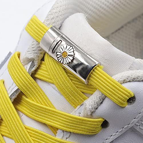 ZJYB Cordones Elasticos Zapatillas ninos con Cierre magnético de Metal Shoelace Hebilla Rápidos y Perezosos Talla única para Todos los Zapatos,E