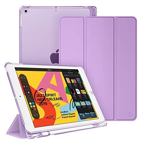 Fintie Hülle mit Pencil Halter für iPad 10.2 2019, Ultradünn Superleicht Schutzhülle mit transparenter Rückseite Abdeckung mit Auto Schlaf/Wach Funktion für 10.2