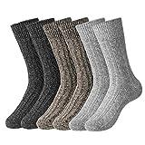 HBselect 6 Paar Norweger Socken aus Schafwolle Hasenhaar warme weiche dickeWollesocken Strümpfe Thermosocken angenehmer Komfort ohne drückende Naht Wintersocken (Grau, Schwarz, Braun, 42-46)