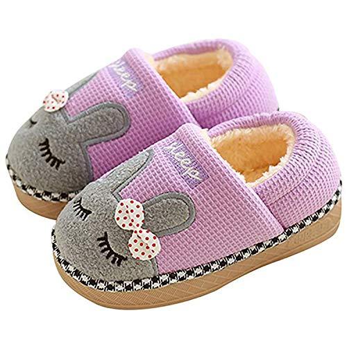 SITAILE Jungen Mädchen Winter Pantoffeln Slippers Schuhe mit Plüsch gefüttert Wärme Weiche rutschfeste Hausschuhe Für Kinder Baby  , 02 Lila , 31/32 EU (Herstellergröße 22)
