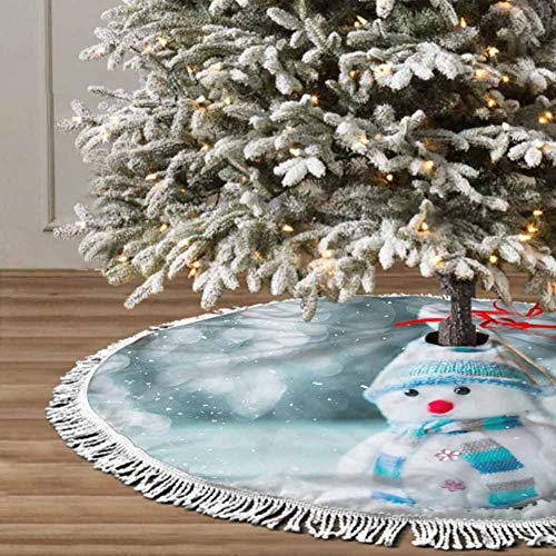 Christmas Tree Skirt, 48 inches Christmas Decoration Fringed Lace (Christmas Balls) Themed with Christmas Ornaments