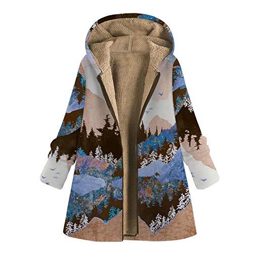 TBKOMH Womens Winter Warm Outwear Floral Print Hooded Pockets Vintage Oversize Coats(Khaki, XXX-Large)