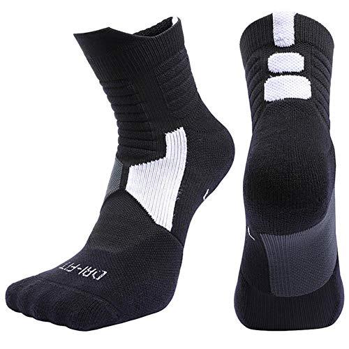 UKKO Sockens 5 Paar Socken Männer Red Professional Basketball-Socken-Wicking Atmungsaktiven Compress Radsocken Sport Fitness Winter Herbst,5 Paar Schwarz,L 39-42