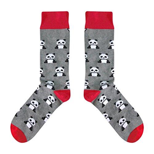 CUP OF SOX Damen Herren Lustige Socken mit Pandas, Bunte Socken mit Muster in der Pappbecher, Geschenksocken für Männer & Frauen, Grau, 41-44