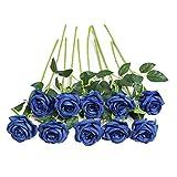 JUSTOYOU 10pcs Artificial Rose Silk Flower Blossom Bride Bouquet for Home Wedding Decor (Blue)