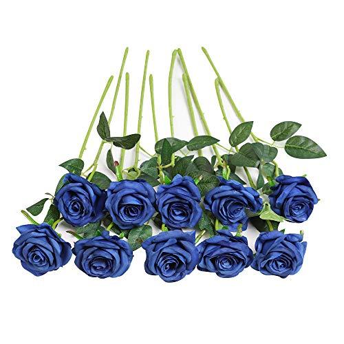 JUSTOYOU 10件假玫瑰绢花花新娘花束的家庭婚礼装饰(蓝)