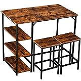 IBUYKE Bartisch-Set, Stehtisch 109 x 60 x 100 cmmit 2 Barhockern, Küchentresen mit Barstühlen, Küchentisch und Küchenstühle im Industrie-Design, für Küche, Vintage, Dunkelbraun TMJ054HH