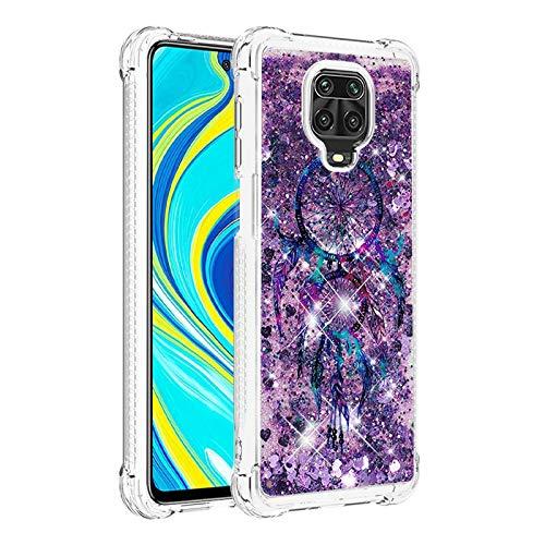 Funda para Xiaomi Redmi Note 9 Pro, patrón de campana púrpura cubierta brillante brillo brillo fluye líquido para niñas mujeres suave transparente parachoques teléfono caso