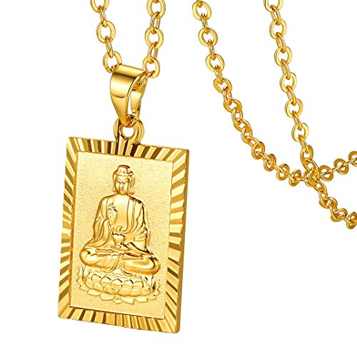 GOLDCHIC JEWELRY Gold Plated Square Meditating Buddha Medallion Necklace Rectangle Buddhism Dog Tag Pendant with 20'+2' Chain Adjustable Lucky Amulet Protection Fengshui Jewelry for Men/Women