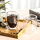 Insulated Coffee Mugs, 5 OZ, Set of 2, Double Wall Glass Coffee Cups With Handle...