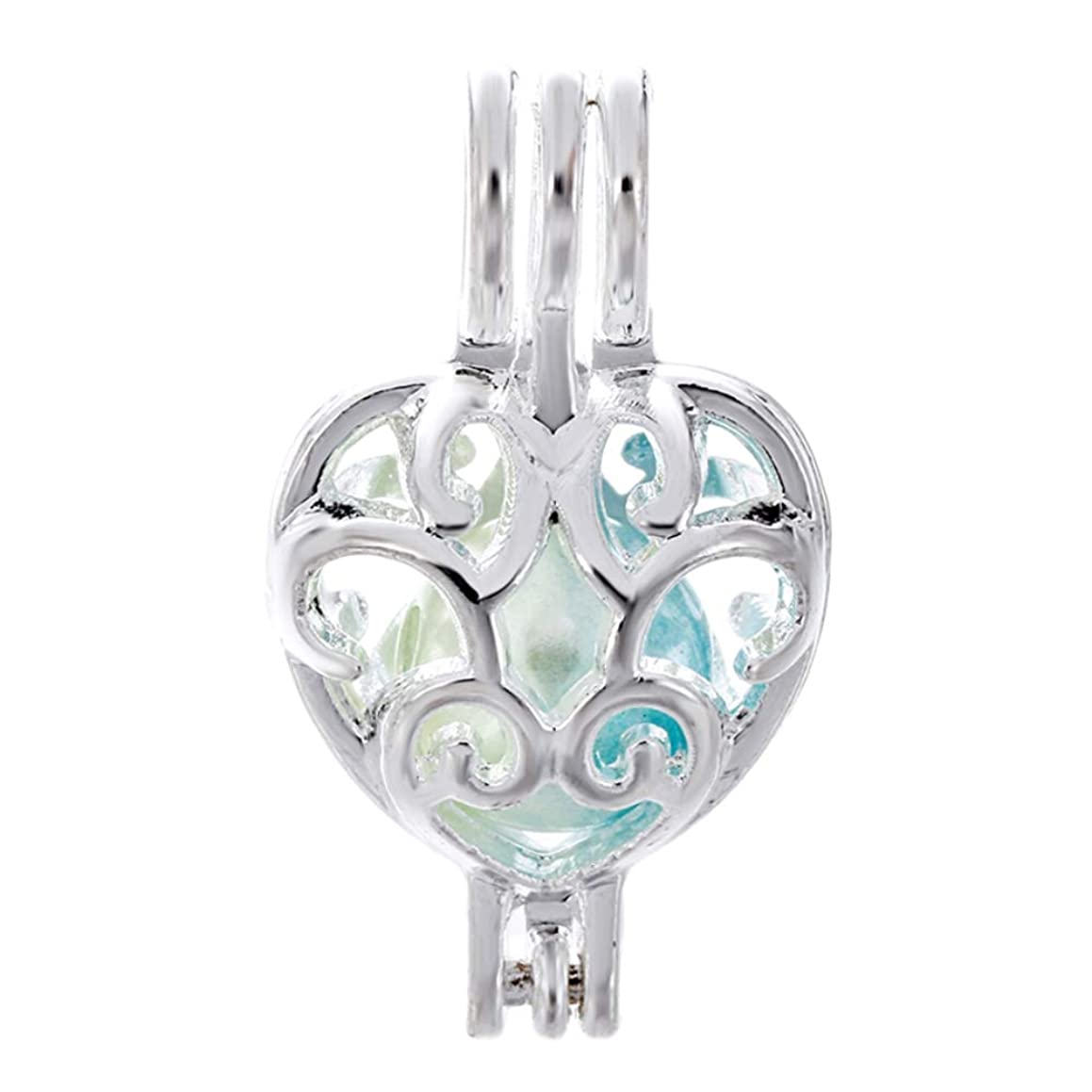 10pcs Heart Pearl Cage Bright Silver Beads Cage Locket Pendant Jewelry Making-for Oyster Pearls, Essential Oil Diffuser, Fun Gifts (Heart-1)
