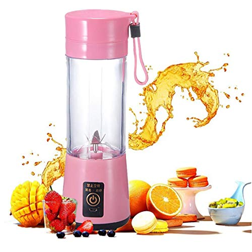 Mini Portable 400ml Fruit Mixing Machine with USB Charger Cable 4 Blades for Superb Mixing Detachable Cup (Pink), for Indoor and Outdoor