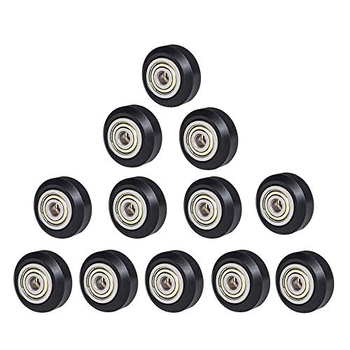 [12 pcs/Pack] SIMAX3D POM Big Pulley Wheels, Plastic Linear Bearing Pulley Passive Round Wheel Roller Compatible for Creality Ender 3, Ender 5, CR-10 and CR-10 S Series 3D Printer