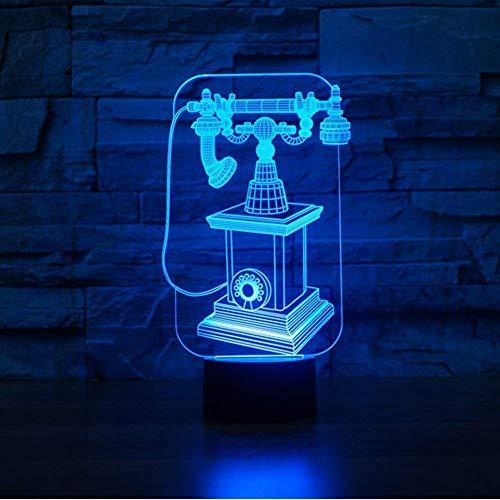 Teléfono 3D Luz noche USB Interruptor táctil Decoración Mesa Escritorio Lámparas ilusión óptica 7 luces que cambian color Lámpara mesa LED Navidad Hogar Amor Brithday Niños Niños Decoración Juguete