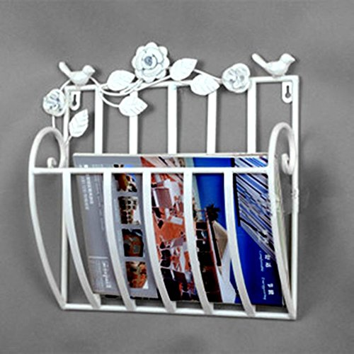 AMYDREAMSTORE Wall Mounted Newspaper and Magazine Rack Hanging Basket Metal Magazine Rack,for Home Bathroom Office-White 30x13x30cm(12x5x12)