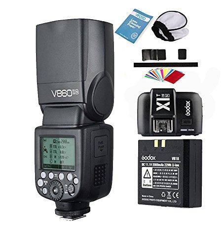 Godox V860II-N 2.4G Inalámbrico TTL Li-on Batería Cámara Speedlite Flash+X1T-N Tranmisor para Nikon D500 D7200 D5500 D5300 D300 D300S D3200 D3300 D3400 D200 D70S D810 D610 D90 D750 (V860II-N)