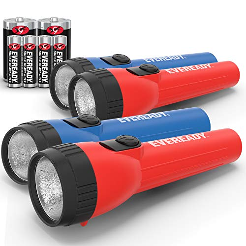"EVEREADY LED Flashlight Multi-Pack, Bright and Durable, Super Long Battery Life, Use for Emergencies, Camping, Outdoor, Batteries Included , Red,Blue,Bright White, 6.2"" x 3.9"" x 2.8"""