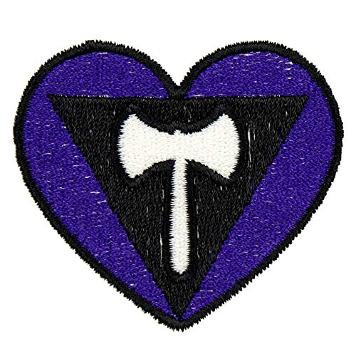 Lesbian Pride Flag Patch Iron On Heart Applique - Black, White, Royal Purple - 2.25' x 2' Heart - Made in The USA