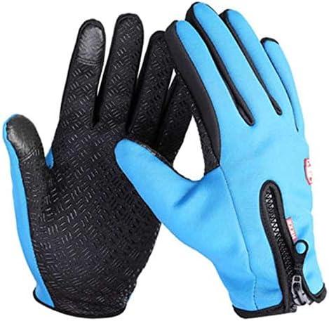 Hot Sell Unisex Men Women Winter Touch Screen Windproof Waterproof Outdoor Zipper Gloves Mittens Outwear - (Color: Blue, Gloves Size: XL)