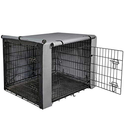 "yotache Dog Crate Cover for 48"" Extra Large Double Door Wire Dog Cage, Lightweight 600D Polyester Indoor/Outdoor Durable Waterproof & Windproof Pet Kennel Covers, Gray Covers Kennel"